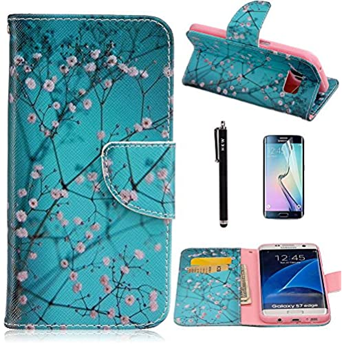 S7 Edge Case,Galaxy S7 Edge Case,HKW(TM) Plum Blossom Folio PU Leather flip wallet Case cover with Card Holder Sales