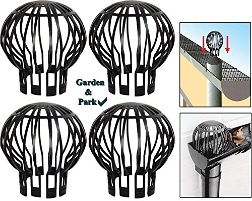 Garden & Park 4-Pack Heavy-Duty Down Pipe Gutter Guards - Non-Corrosive & Weatherproof Leaf Downspout Filters For Debris, Roof Moss, Twigs & Leaves, Prevents Clogging, Easy No-Tool Installation (Clog Premium Garden)