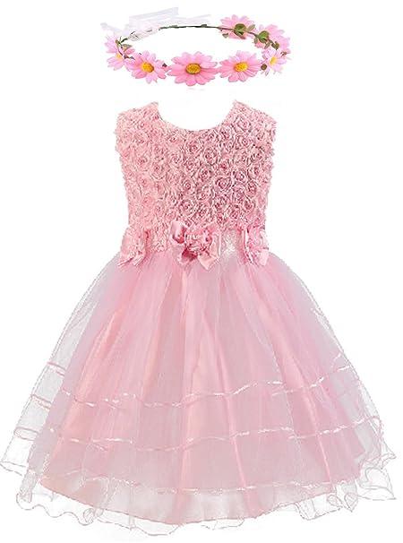 ad263f4c5f Shiny Toddler 3D Rose Petal Bowknot Christmas Flower Girl Birthday Party  Tutu Dress with Sunflower Headband