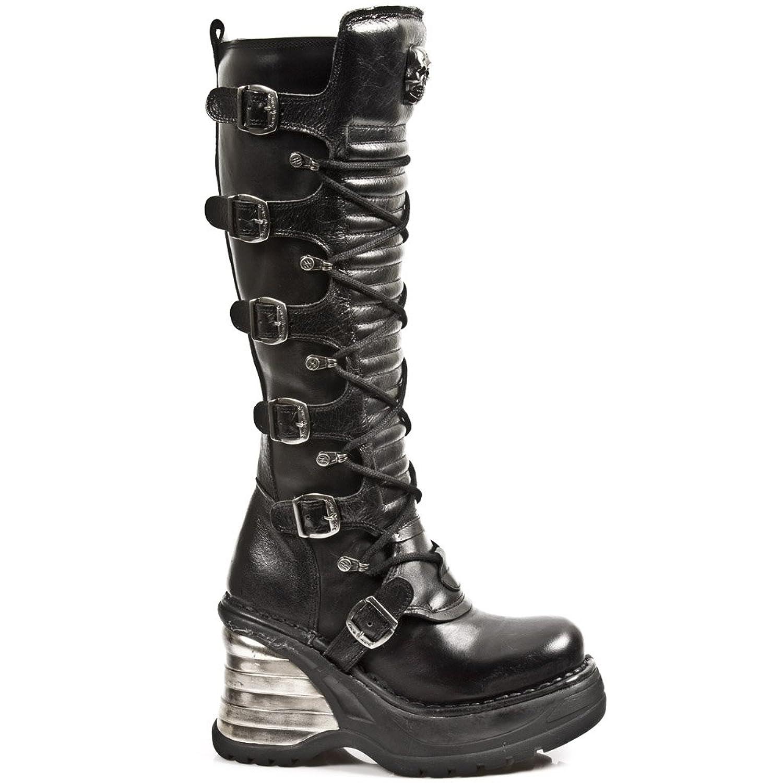 New Rock 8272-S1 - Botas de cuero para mujer Black, Black