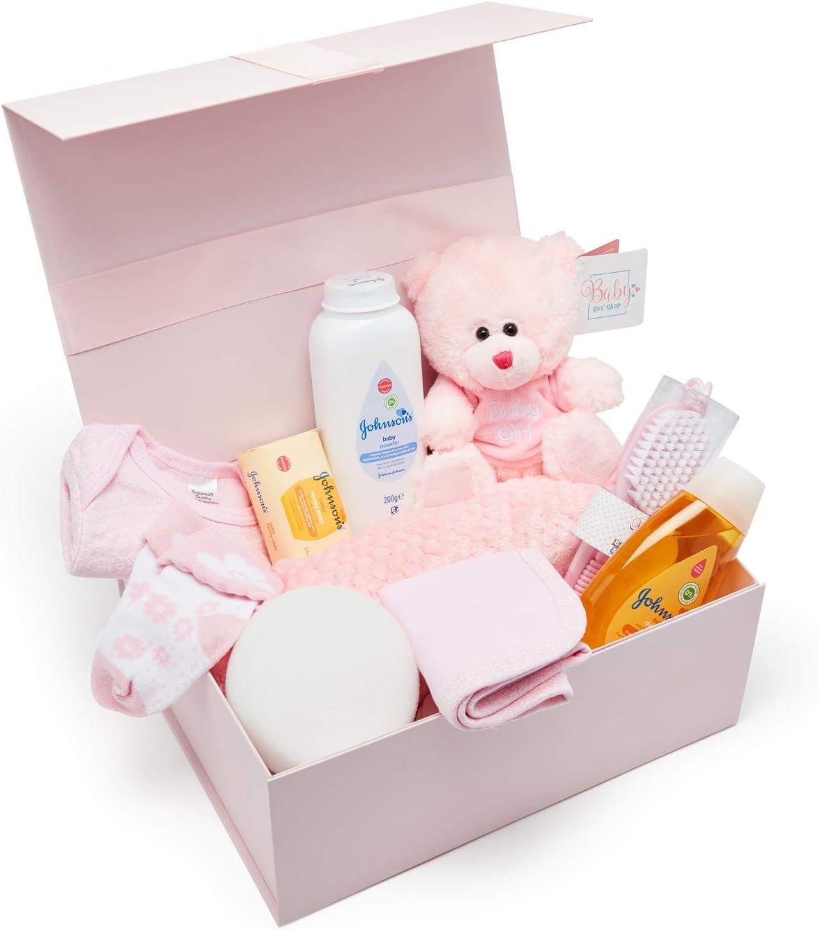 Baby Box Shop - Cesta regalo bebe - Regalos originales para baby shower con esenciales para bebes recien nacidos que incluye oso de peluche y caja recuerdos rosa: Amazon.es: Bebé