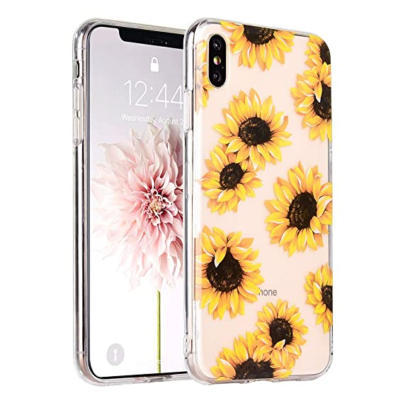 watch deede c03b8 COSANO Cute iPhone Xs MAX case,Clear with Girl Floral Sunflower Design  [Hard PC Back +Shock Absorbing Soft Bumper] Tropical Flowers Slim Thin ...