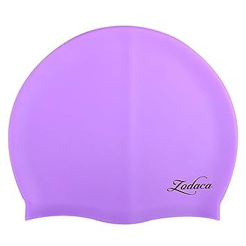 fd56358f Zodaca Premium Solid Silicone Elastic Flexible Durable Waterproof Swimming  Hat Comfortable Swim Cap for Unisex Adult
