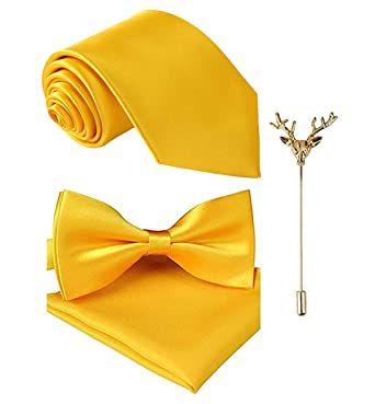 90aa302682a9 Sorella'z Golden Yellow Necktie, Bowtie, pocket Square Combo with Lapel for  Mens: Amazon.in: Clothing & Accessories