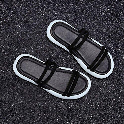 Claquettes Mules de Sport Noir Mode Femmes Sandales Plates Tongs Toe Chaussure Lanières Open Été w0FwzUqr