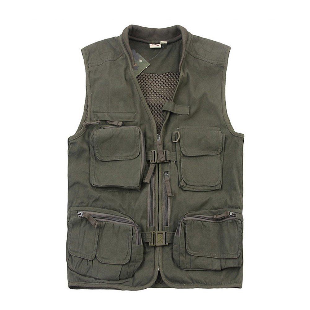 Emansmoer Herren Baumwolle Multi-Tasche Atmungsaktiv Mesh gefüttert Weste Professional Outdoor Sport Angeln Jagd Weste