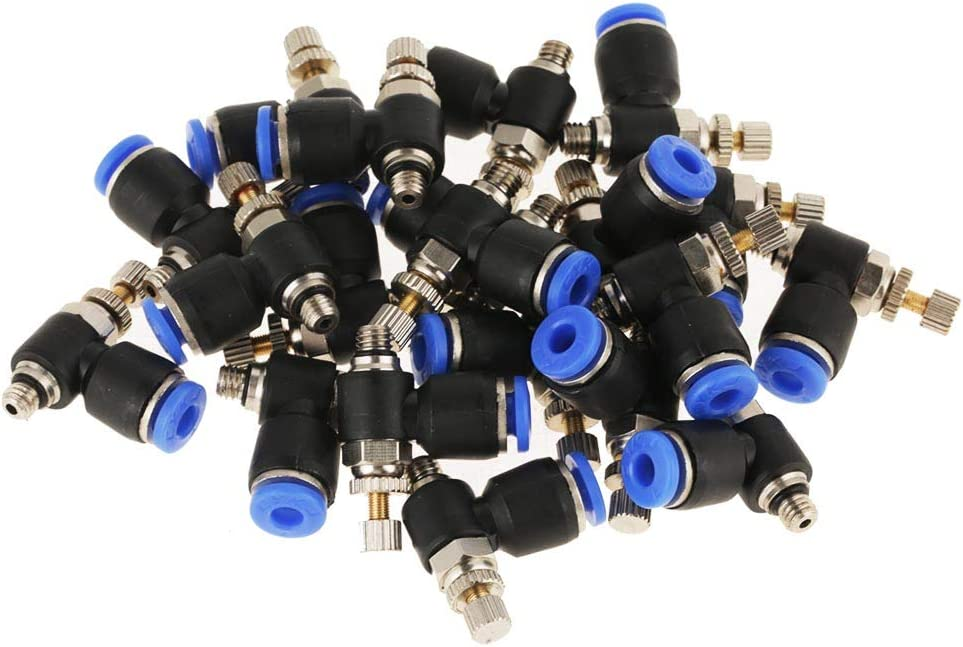 Pneumatic Quick Connector 20Pcs OD 4mm Tube M5 Pneumatic Air Flow Speed Control Valve Quick Connector