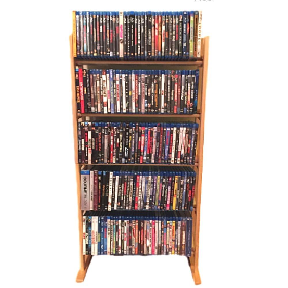 Multimedia Storage Tower Holder Universal DVD CD Blu-Ray 5-Tier Media Unit Modern Multipurpose Organizer Slim Stand & eBook