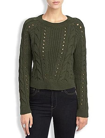 Lucky Brand Womens Long Sleeve Cable Knit Sweater Olive Green X