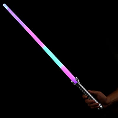 Fun Central 6 Pieces - 28 Inches Rainbow LED Light Saber Sword Toy in Bulk for Kids: Toys & Games
