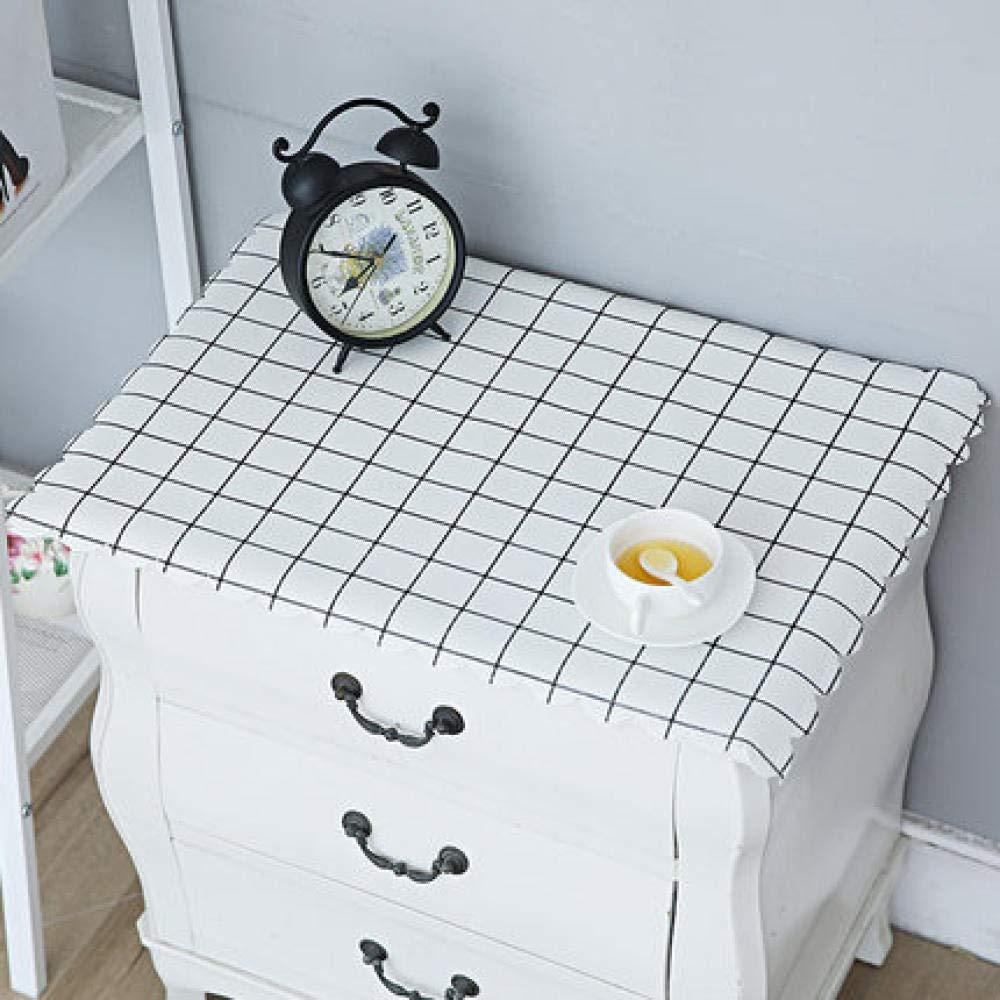 WJJYTX tischdecke Plastik, Nachttischdecke Abwischbare Vinyl-Tischdecke Stilvolles Muster Wasserdicht Kleines Quadrat Weiß @ 50 * 60