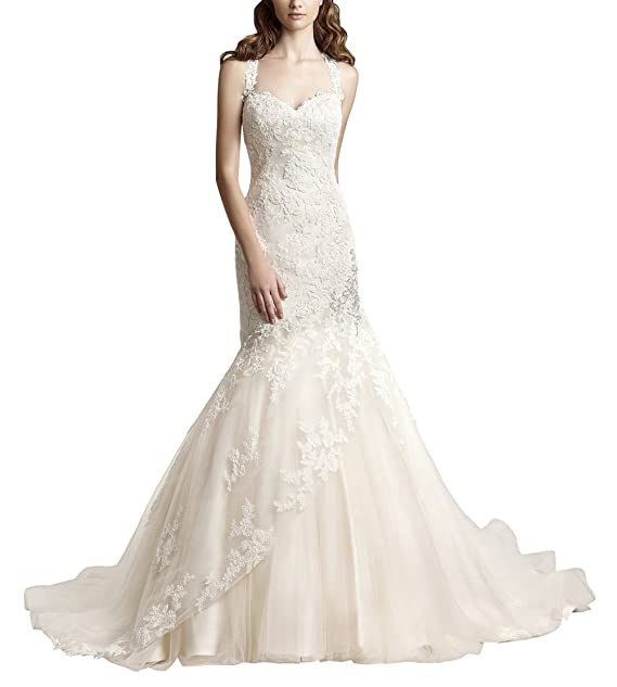 Special novia elegante de tul y encaje vestido de boda