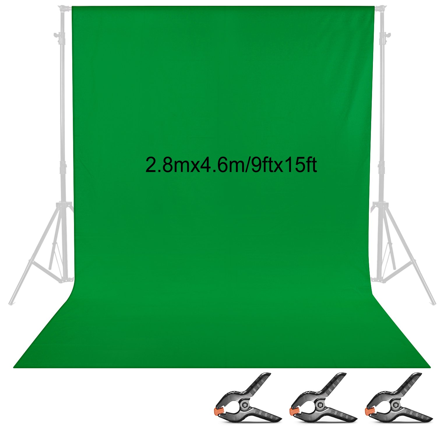 Neewer 9 x 15 Feet/2.8 x 4.6 Meters Fabric Photography Backdrop Background Screen with 3 Clamps for Photo Video Studio Shooting (Green) 10093248