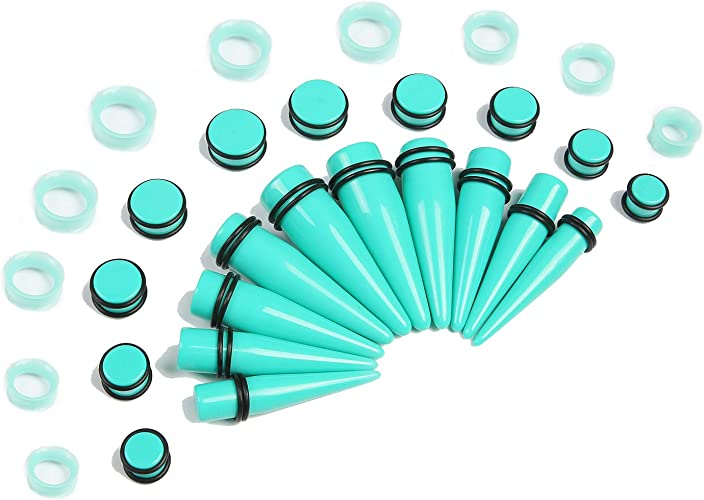 Acrylic Ear Taper Stretchers Expanders Kit Coloured Tapers Earrings Stretching