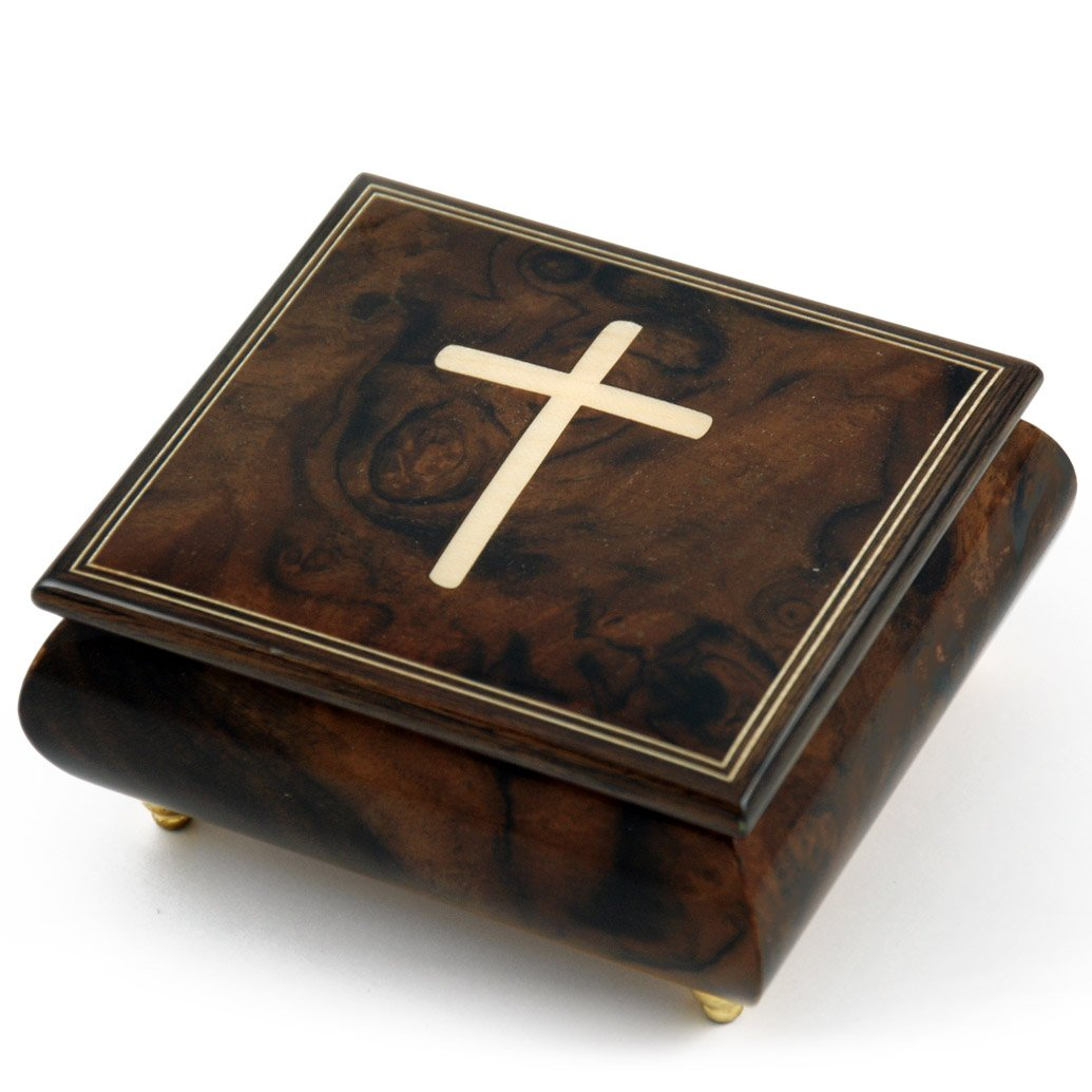 Gorgeous Handcrafted Natural Wood Tone Musical Jewelry Box with Holy Cross Inlay - Rock of Ages - Christian Version by MusicBoxAttic
