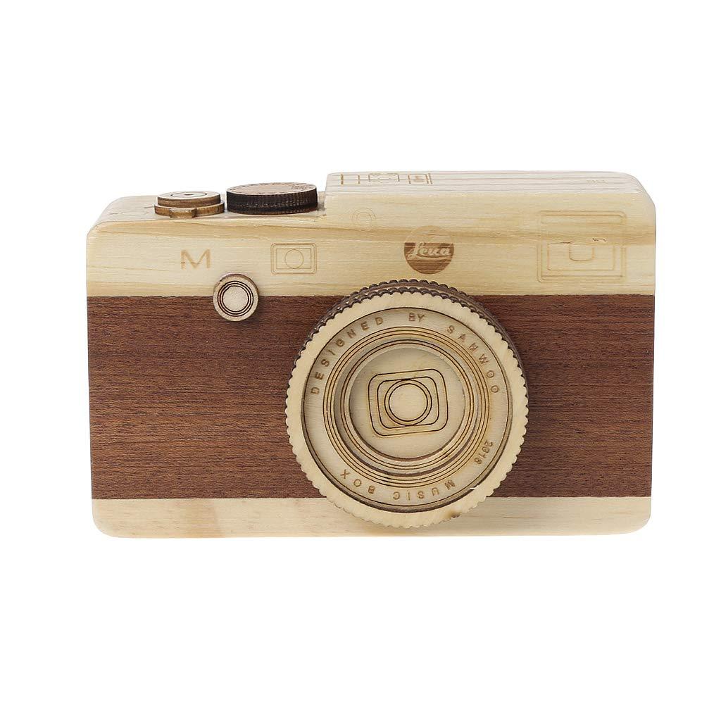 ZJL220 Holz Spieluhr Retro Kamera Design Klassische Melodie Geburtstag Dekoration B