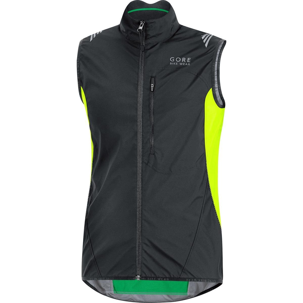 GORE BIKE WEAR Men's Cycling Vest, Super-Light, Compact, GORE WINDSTOPPER, ELEMENT WS AS Vest, Size S, Black/Neon Yellow, VWLELE