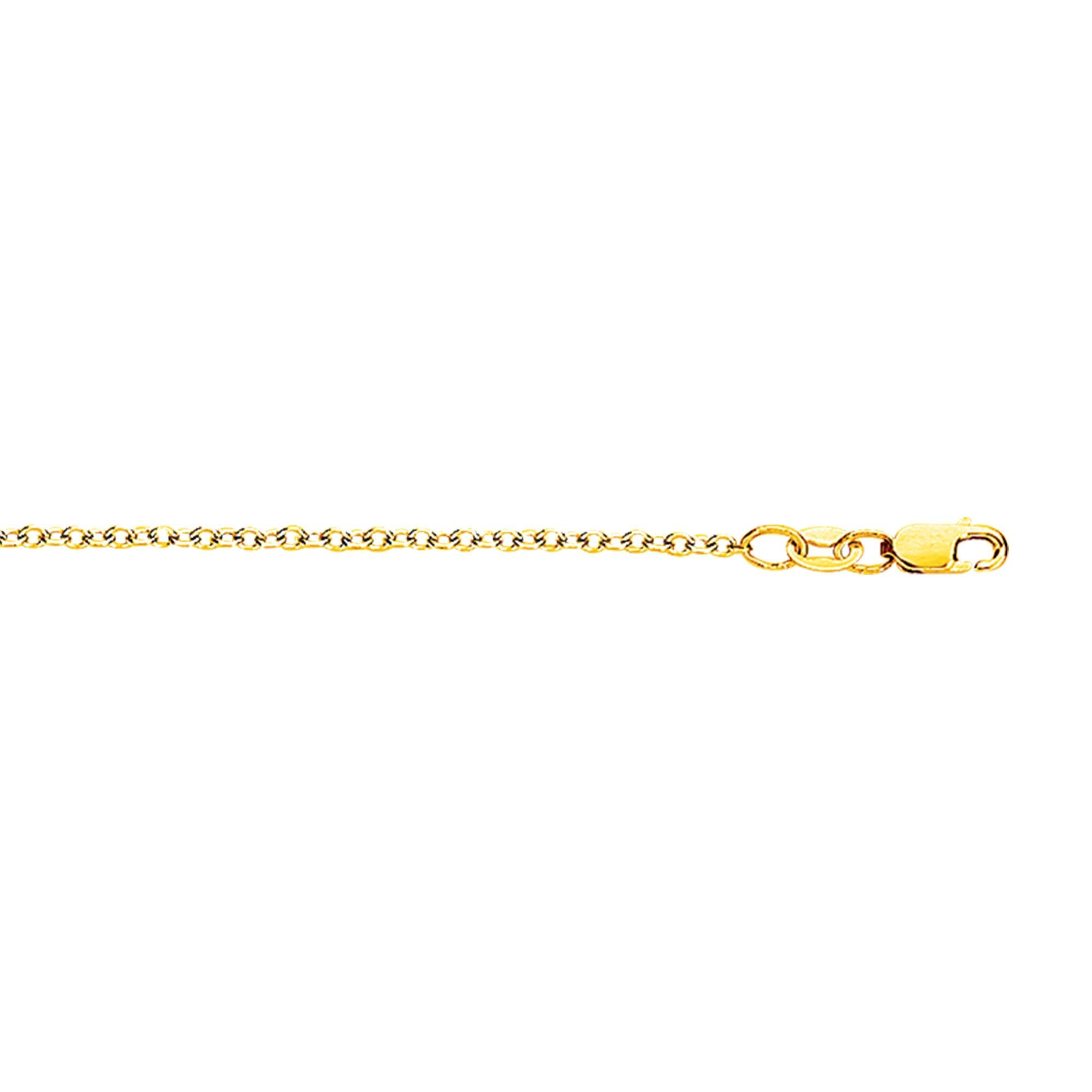 18k Yellow Gold 16 Inch 1.5mm Polish Finish Round Cable Chain Necklace