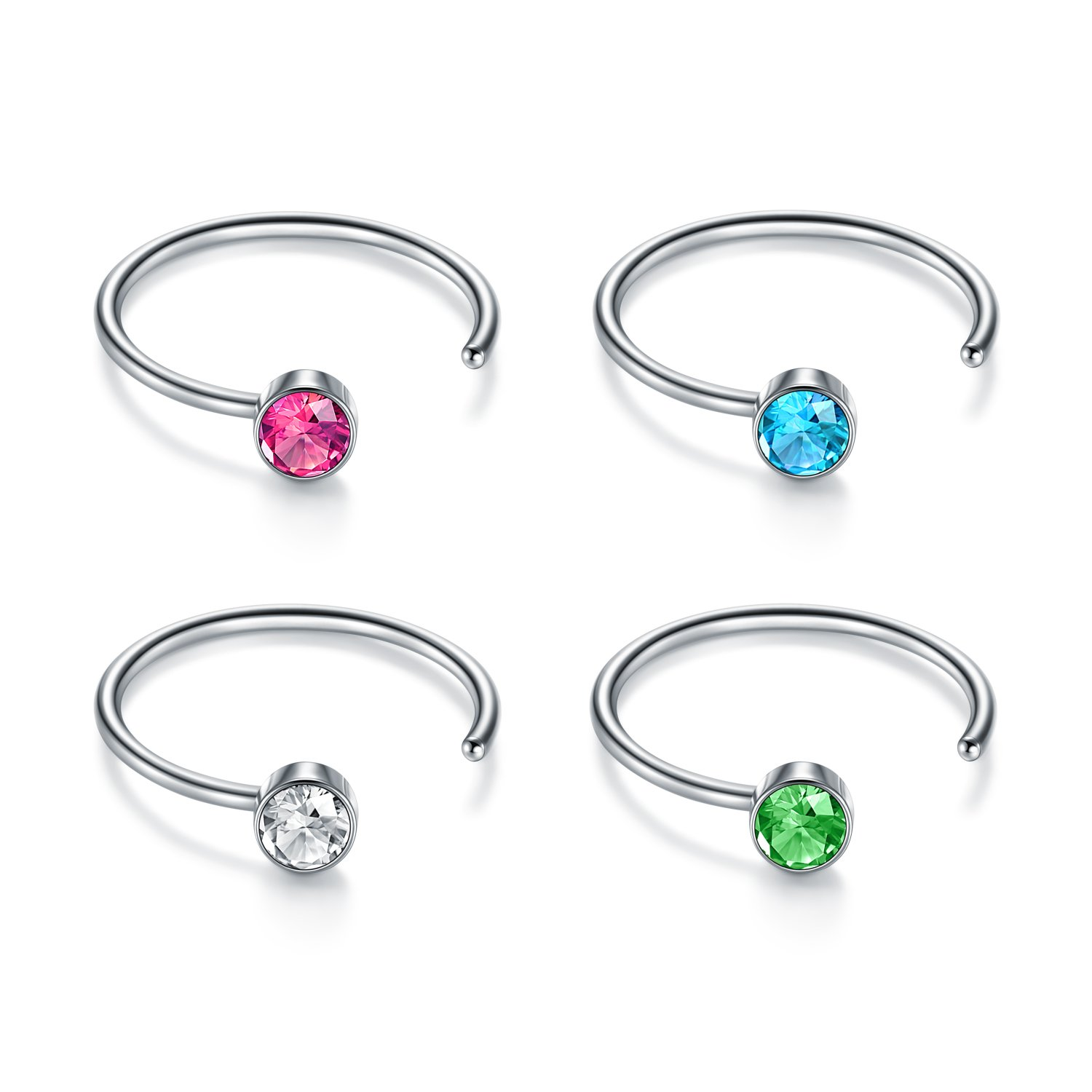 JFORYOU Nose Rings 22G 316L Surgical Steel Faux Nose Ring Nose Hoop with Rhinestone 4Pcs JFORYOU Jewelry 2ABD11LL-BH004B