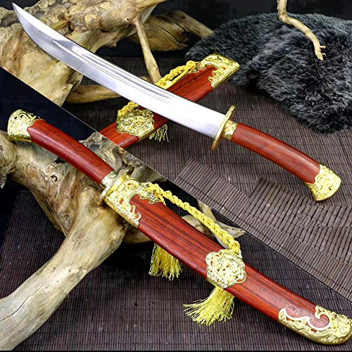 Battle Ready 1090Carbon Steel Sharp Chinese Kungfu Short Dao Sword Qing Dynasty Dragon Saber Redwood Saya Home Decoration Collection Real Knife Swords