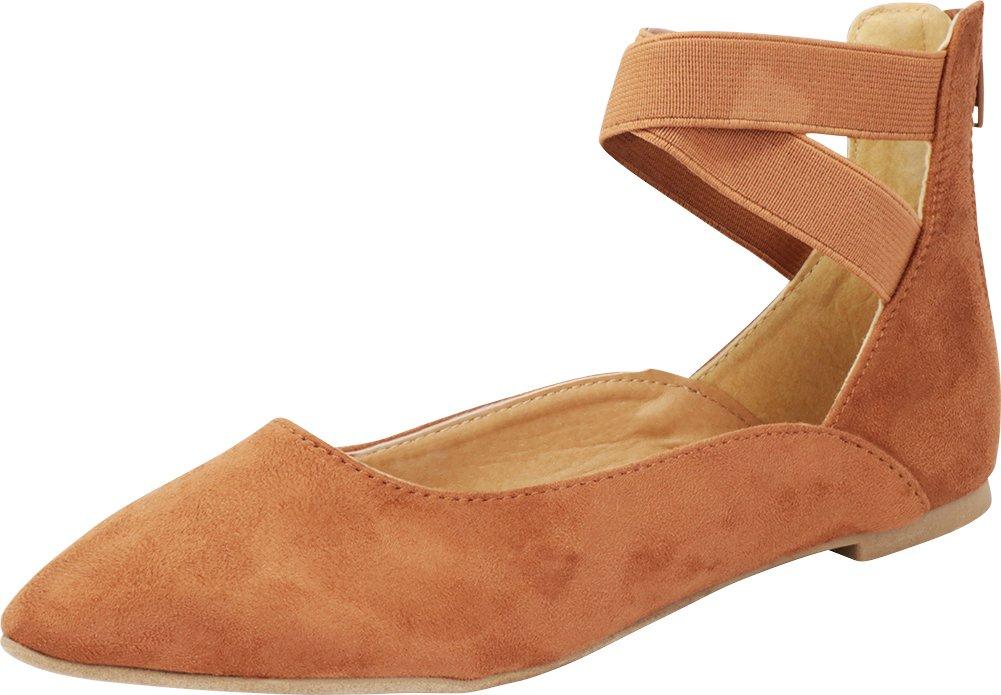Cambridge Select Women's Closed Pointed Toe Crisscross Ballerina Ankle Straps Ballet Flat B07DCXCL41 6 B(M) US|Tan Imsu