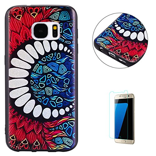 KaseHom for Samsung Galaxy S7 Case Moon Mandala Painted Design Anti-Scratch Soft TPU Silicone Gel Ultra Slim Protection Cover Shell with [Free Screen Protector] -