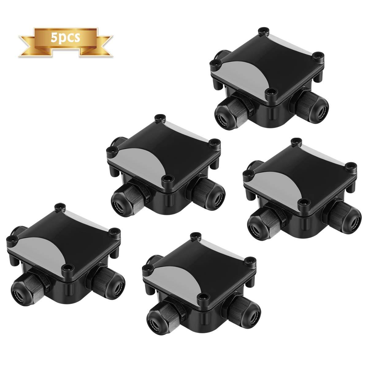 5 Piezas Caja de Conexiones NASUM IP68 Cajas de Empalmes Impermeables Exterior Caja de Conexiones de 3 Ví as Má s Grande para 5.5mm-10.5mm Diá metro del Cable (ABS), Negro