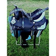 "15"" Western Cordura Trail Barrel Pleasure Horse SADDLE Bridle Tack Blue 4914"