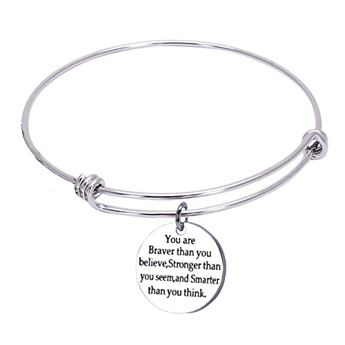 You Are Braver than You Believe Stainless Steel Adjustable Bangle Bracelets for Women
