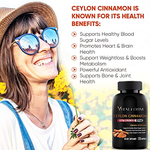 VitalForm Cinnamon Capsules - Organic Ceylon Cinnamon - 120 Ceylon Capsules - Supports Healthy Glucose Balance- Blood Sugar Support - Cinnamon Supplements - 1200 mg