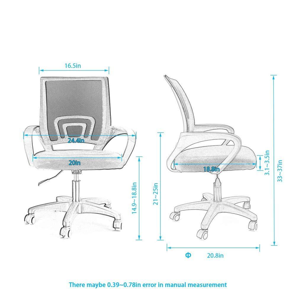 JIEER-C kontorsstol ergonomisk svängbar skrivbordsstol nät och läder hög rygg stöd hem konferensstol lyft svängbar stol personalstol stol stol – grön Svart 2