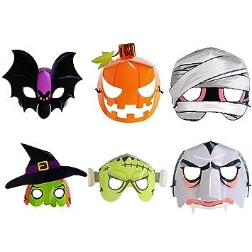 Halloween Masks For Kids.Weyfly 24 Pcs Halloween Masks Luminous Fluorescence Paper Masks For Kids 6 Pcs Set
