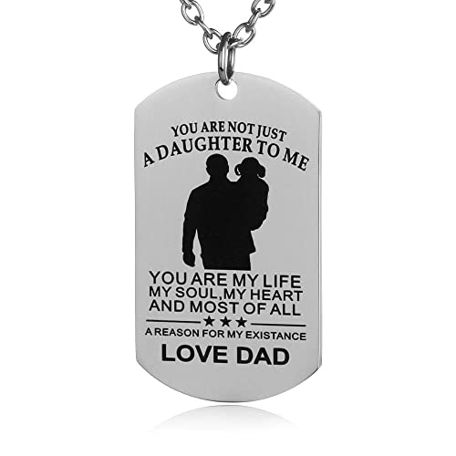 FAYERXL Daughter Gifts Ideas Dog Tag Necklace from dad Daddy