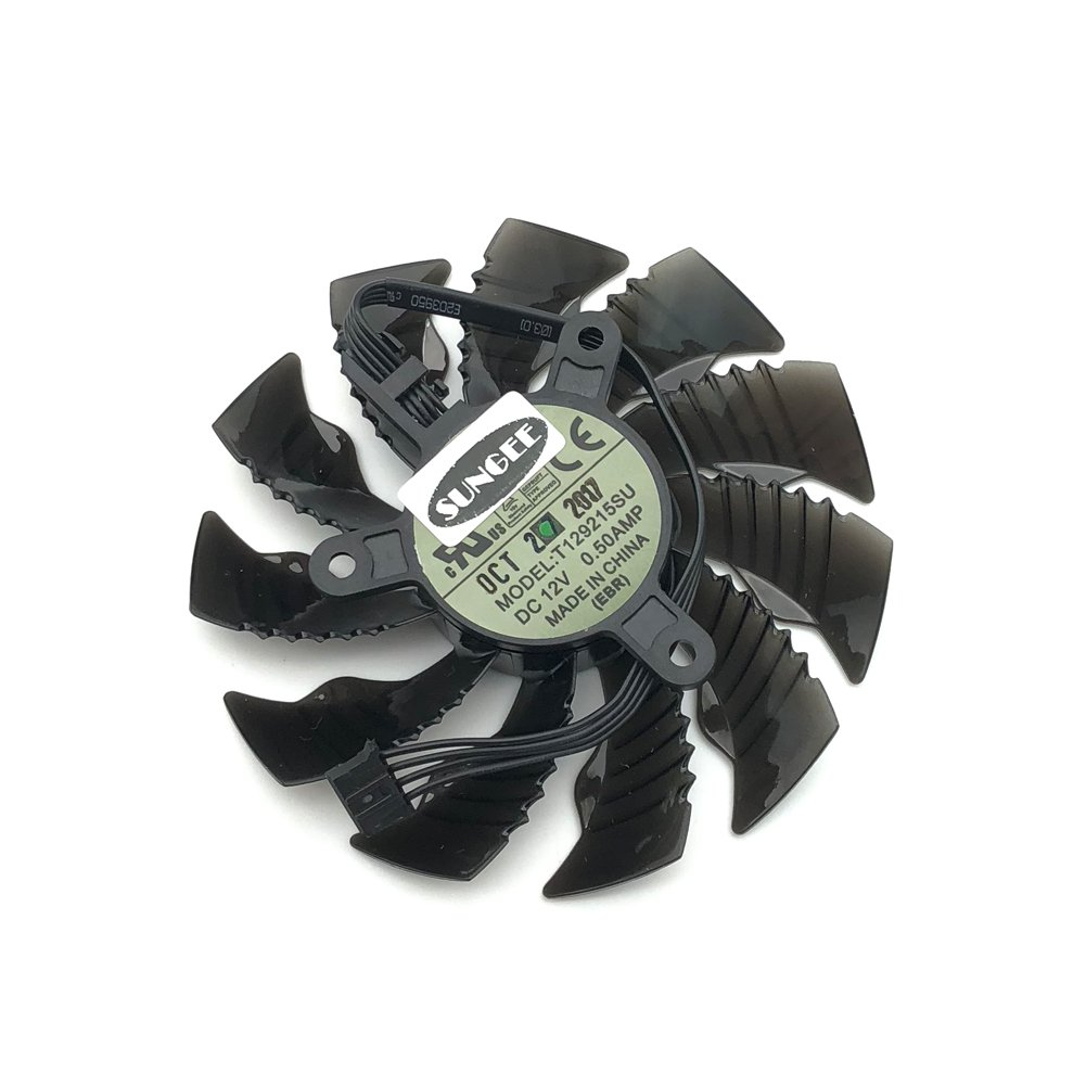 For GTX960 GTX970 GTX1050 GTX1060 DC12V 0.5A T129215SU 85MM 4pin temperature control graphics card cooling fan 1 Pcs (long line)