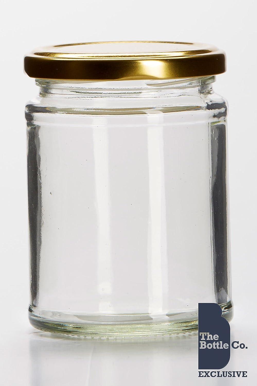 BOTTLE COMPANY 72 X 12OZ/300ML APPROX ROUND GLASS JAM JAR,CHUTNEY,PRESERVE,PICKLE,CANDLE,SWEET,HONEY,WEDDING FAVOUR JAR C/W GOLD LIDS 300FOOD72