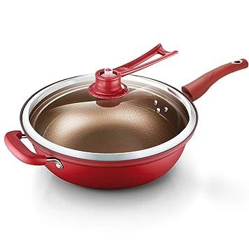 Sartenes, Sartenes de Hierro Fundido para Cocina con Mango de Silicona Desmontable de Tapa de Vidrio Templado Wok Pan Adecuado Para Todas las Estufas, ...
