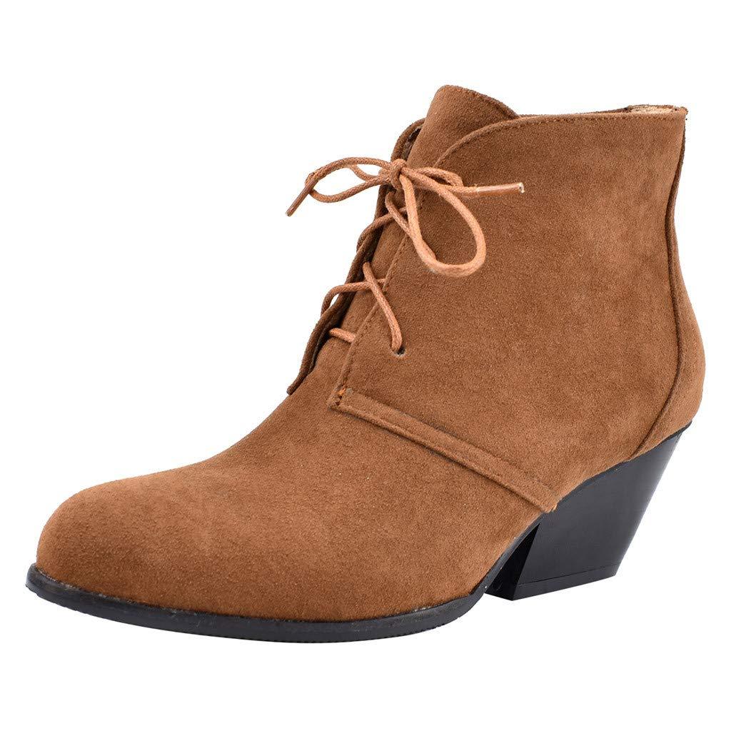 SSUPLYMY Damen Kurzschaft Stiefel Mode Schnür Schneestiefel Einfarbig Freizeitstiefel Square Heel Stiefel Knöchel Nackt Stiefel