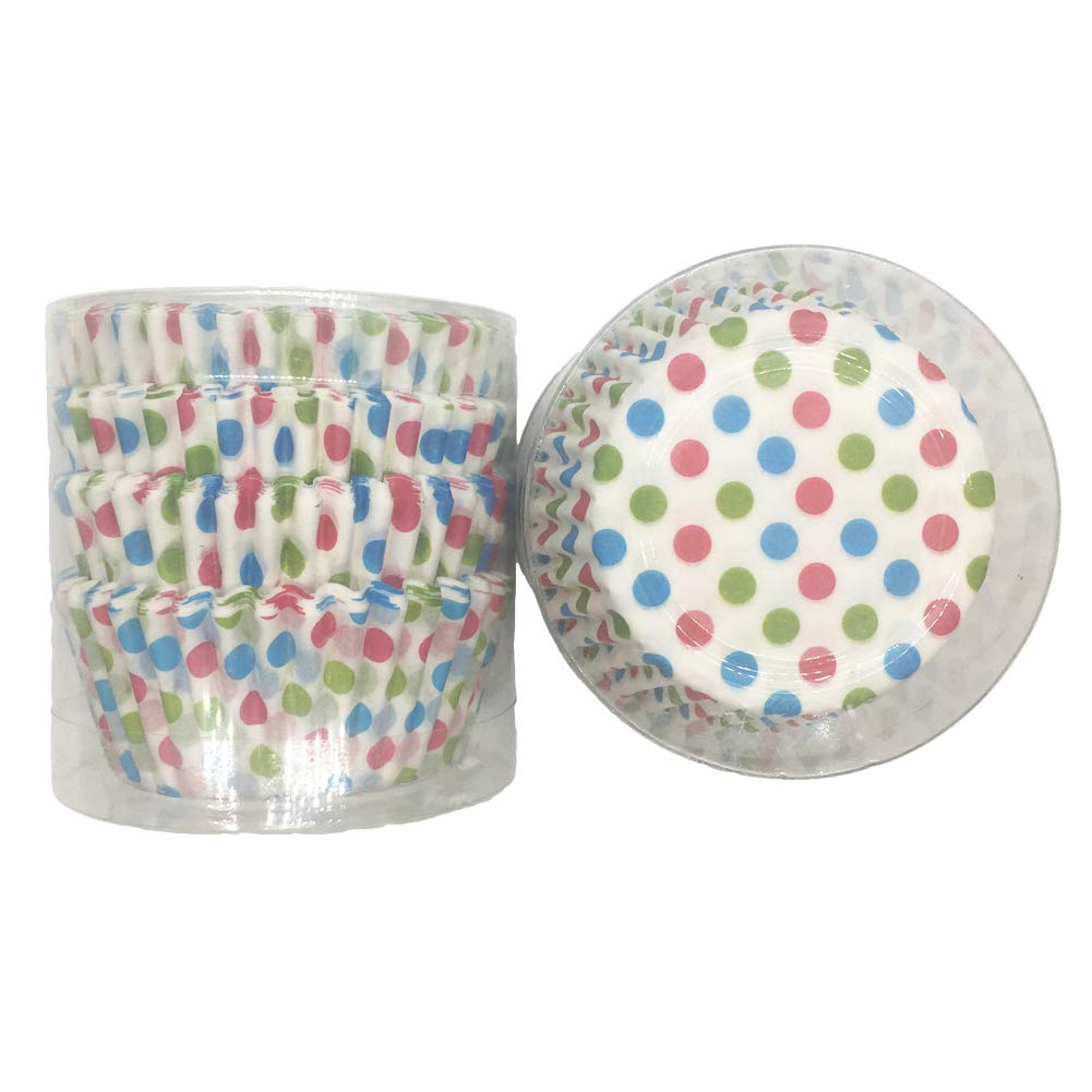 KWJOY Colored Dots Standard Paper Baking Cups,Muffin Liners,Greaseproof Cupcake Liners, 200 Count