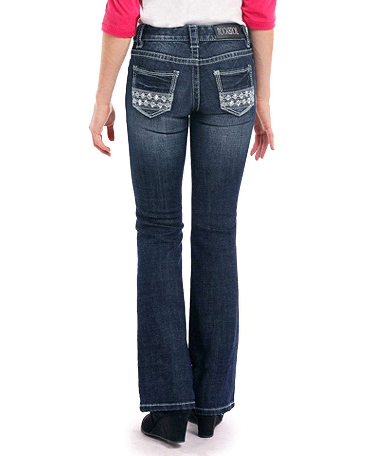 Rock /& Roll Cowgirl Girls and Dark Vintage Aztec Embroidered Rhinestone Jeans