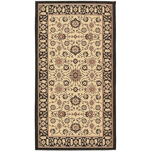 Safavieh Courtyard Collection CY6126-26 Black and Cream Indoor/Outdoor Area Rug (4' x 5'7