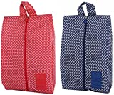Ac.y.c 2 Pack Portable Waterproof Multi-function Nylon Travel Shoe Bags with Zipper Closure (Dark Blue and Red)¡­