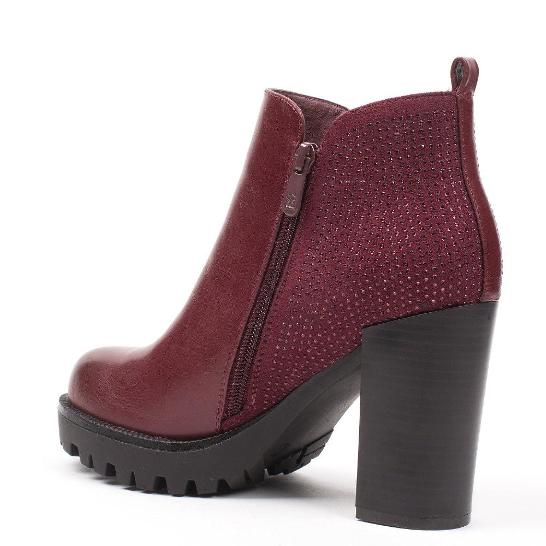 Ideal Shoes Scarponcini bi-materiale con strass Paulette, Rosso (rosso), Fr  41: Amazon.it: Scarpe e borse