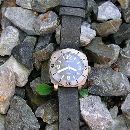 Custom 22mm Handmade Premium Calf Leather Watch Band Gunny Straps - Le Cuir Noir Craque