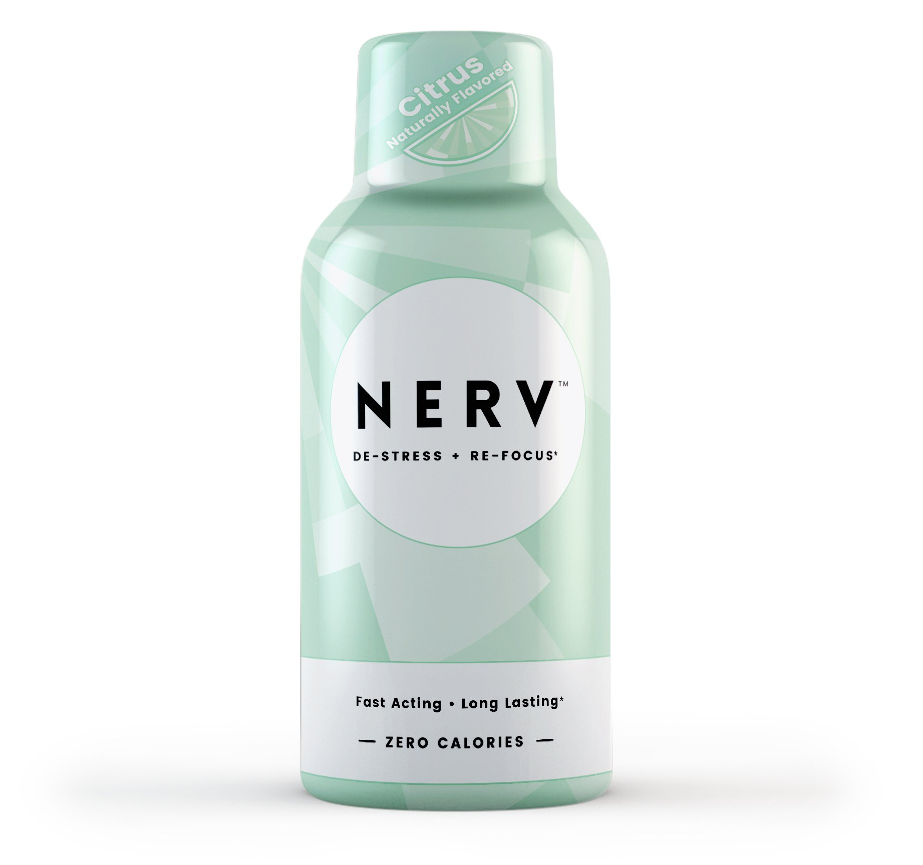 Nerv Drink (6-Pack)- Stress-Less, Enhance Focus, No Crash, 2 Oz Shot, Vitamin B, L-theanine - All Natural Citrus Flavored (Non-GMO, Vegan, Soy-Free) by Nerv