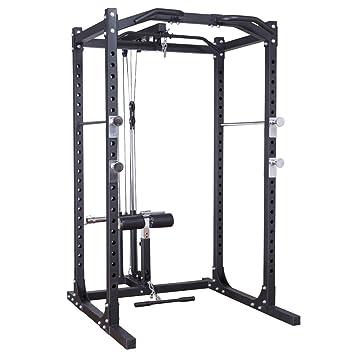 GOPLUS Fitness Power Rack w/lat Pull fijación Jaula de Sentadillas ...