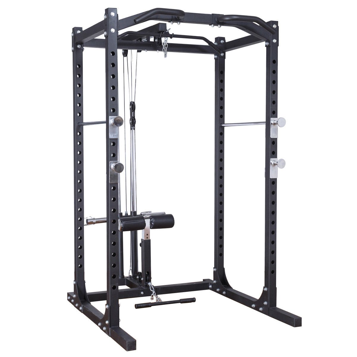 Goplus Fitness Power Rack w/ Lat Pull Attachment Squat Cage Equipment