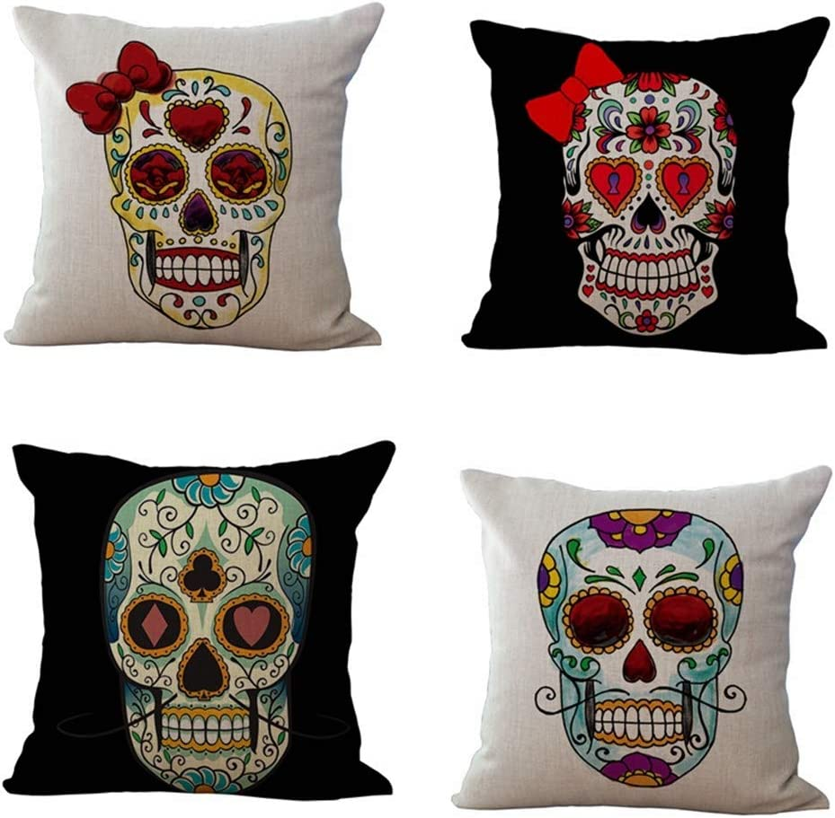 Throw Pillow Covers Decorations Pillowcases 18×18 Inch Cushion Cover Printing American Retro Personality Skull Flowers In The Eyelids Cotton Linen 4 Pcs/Set Pillow Cases For Sofa Couch Bed (ZT-1409)