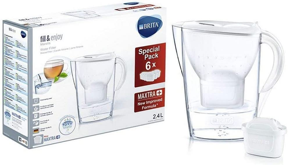 Brita Halbjahrespaket Cool weiß Marella Water Filter Jug Half-Year Pack Maxtra (Pack of 6), White