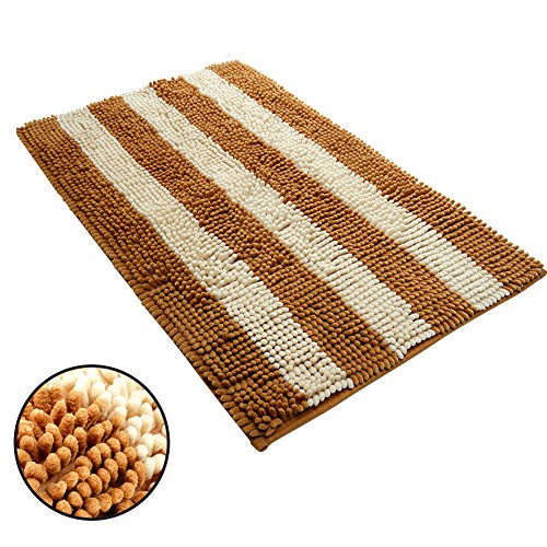 (Ihoming Pet Mud Rugs Bowl Bed Mat Absorbent Microfiber Chenille Stripe Dog Cat Door Mat Paw Step Clean Rugs, Khaki/Beige, 19 by 31 inches)