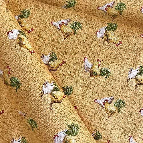 (Vintage Yellow Rooster Print Upholstery Fabric by The Yard)